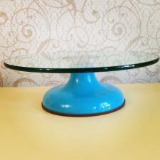 Стеклянный поворотный стол голубой