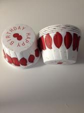 Ламинированные стаканчики белые Happy Birthday с красными шариками № 1