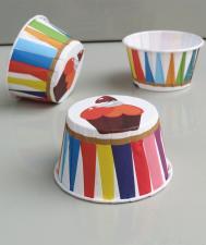 Ламинированные стаканчики Пирожное с разноцветными полосами № 3