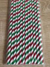 """Трубочки """"Спираль блестящая красно-бело-зеленая"""", 26 шт."""