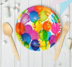 """Тарелка бумажная """"Воздушные шарики"""", 18 см, 10 шт."""
