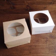 Коробка двухсторонняя Крафт на 4 капкейка