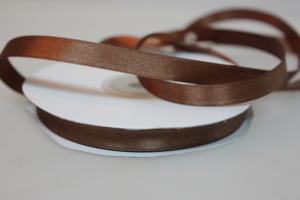 Лента атласная коричневая, ширина 1 см