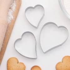 """Набор форм для вырезания печенья 7,5 х 6 см """"Сердце"""", 3 шт"""