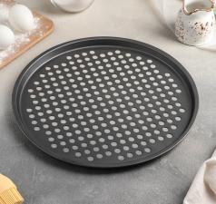 Форма для пиццы диаметр 32 см, высота 1 см, перфорированная, антипригарное покрытие