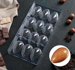 """Форма для шоколада 27,5×13,5 см """"Шоколадное яйцо"""", 12 ячеек (3,6×5,7×1,5 см)"""