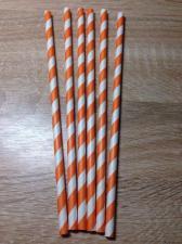 Трубочки для коктейля спираль оранжевая, 10 штук.