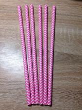 Трубочки для коктейля зигзаг ярко-розовый, 10 штук.