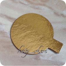 Подложка золотая с держателем для пирожных