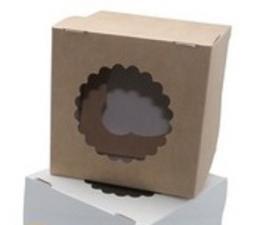 Коробка для 1 маффина/капкейка с окном