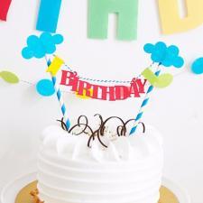 """Растяжка на торт """"Birthday"""" № 4"""