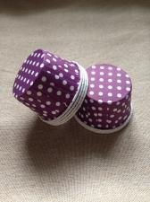 Стаканчики с ламинацией фиолетовые в белый горох