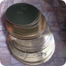 Подложка усиленная круглая золотая, 26 см, толщина 3,2 мм